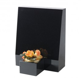 All Polished Black Granite Plaque with Upright Ledger and Vase