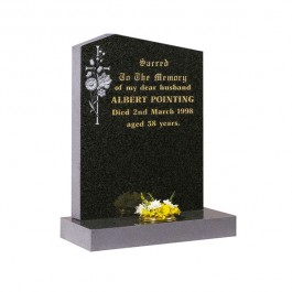Part Polished Dark Grey Granite with Peon Top with Carved Flowers and Cross