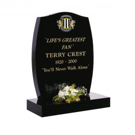 All Polished Black Granite with Lightly Blasted Football Badge