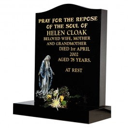 All Polished Black Granite with Blasted & Painted Image of Our Lady