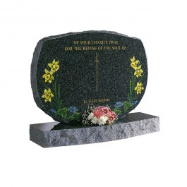 Part Pitched Dark Grey Granite with Blasted & Coloured Daffodil Design