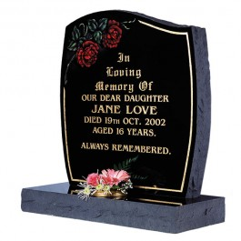Part Pitched Black Granite with Lightly Blasted Coloured Rose Motif & Gilded Border