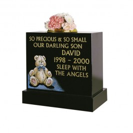 All Polished Black Granite with Cuddly Teddy Motif in Colour