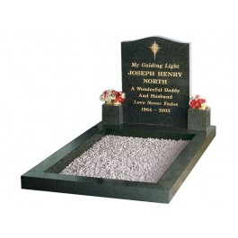 All Polished Dark Grey Granite Kerb Set with Gilded North Star Motif