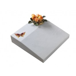 White Carrara Marble Desk Ledger with Blasted & Coloured Butterfly Motif