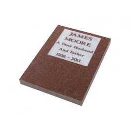 Part Polished Ruby Red Granite Plaque