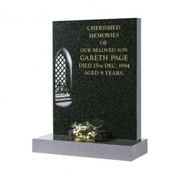 Part Polished Dark Grey Granite with Church Window & Flowers
