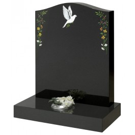 All Polished Black Granite with Dove & Flowers Blasted & Coloured