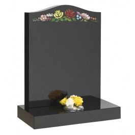 All Polished Black Granite O'Gee with Blasted Rose & Floral Design