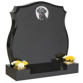 All Polished Black Granite with Splayed Base & Blasted & Etched Dog Design