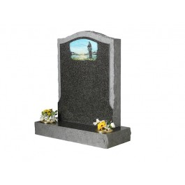 Part Pitched Dark Grey Granite with Pitched Border & Coloured Fisherman Scene
