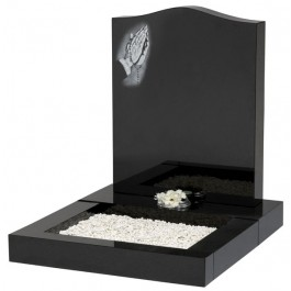 All Polished Black Granite Mini Kerb Set with Praying Hands Motif Lightly Blasted