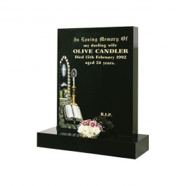 All Polished Black Granite Square with Church Window, Candle & Book Design