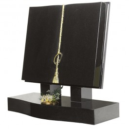 All Polished Black Granite Bible with Guilded Raised Cord & Tassel with Eternity Ring
