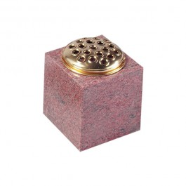 Ruby Red Granite Cube Vase