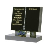 Part Polished Black Granite Bible with Lightly Blasted Cord & Tassel