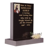 Part Polished Black Granite with Blasted & Painted Image of Our Lord