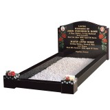 All Polished Black Granite Kerb Set with Blasted and Coloured Rose Design with Coloured Daisy Chain on Pots