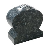 All Polished Heart Vase, Blue Pearl Granite