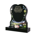 All Polished Black Granite Heart with Country Scene & Flowers