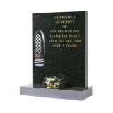Part Polished Dark Grey Granite with Church Window & Flowers