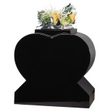 All Polished Heart Vase, Black Granite