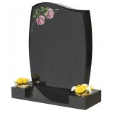 All Polished Black Granite 1/2 O'Gee, Barrel Sides, Fat to Thin Chamfer, Lightly Blasted & Coloured Roses