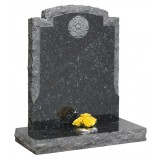 Part Pitched Blue Pearl Granite With Pitched Border with Tudor Rose Deep Blasted Motif