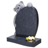 All Polished Blue Pearl Granite with Fully Carved Teddy Head & Paws