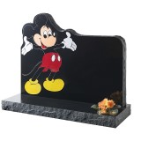 Part Pitched Black Granite with Carved & Coloured Mickey Mouse Motif