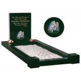 All Polished Black Granite Kerb Set with Lightly Blasted Cherub & Flowers in Colour