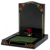 All Polished Black Granite Mini Kerb Set with Coloured Roses & Gilded Border Design