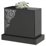 All Polished Black Granite with Lightly Blasted & Highlighted Rose Motif