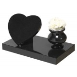 All Polished Black Granite with Heart & Support Wedge with Turned Vase