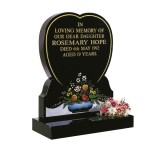 All Polished Black Granite Heart with Vase & Flower Design