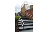 Flamed Light Grey and Black Granite Steps at Durham High School for Girls