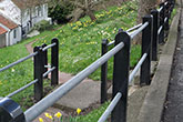 Black granite support posts with steel runners - 'Railing project', Bishop Middleham