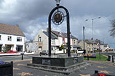 Green granite monument to County Durham, town centre Ferryhill